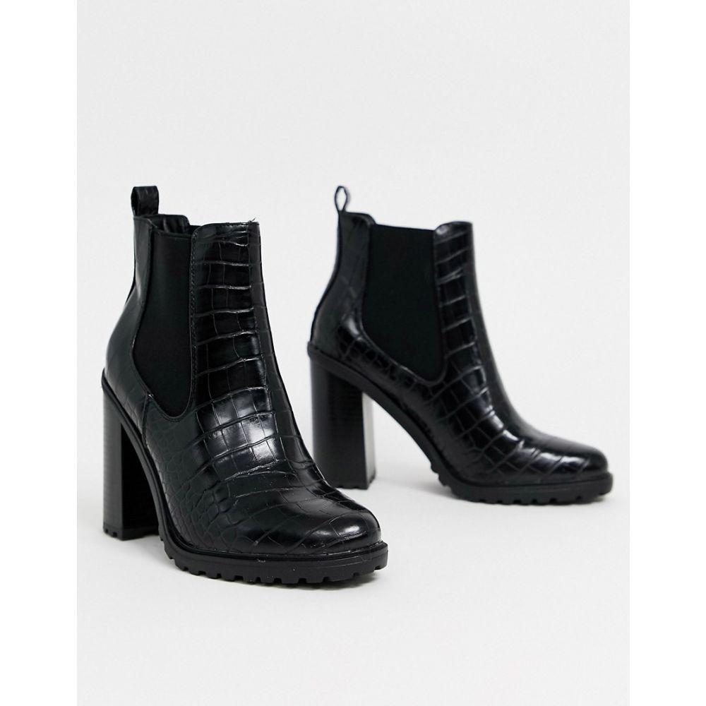 ニュールック New Look レディース ブーツ ショートブーツ チャンキーヒール シューズ・靴【croc pu chunky ankle boot in black】Black