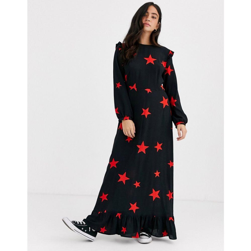 ノーバディーズ チャイルド Nobody's Child レディース ワンピース マキシ丈 ワンピース・ドレス【ruffle shoulder maxi dress in star print】Large star print