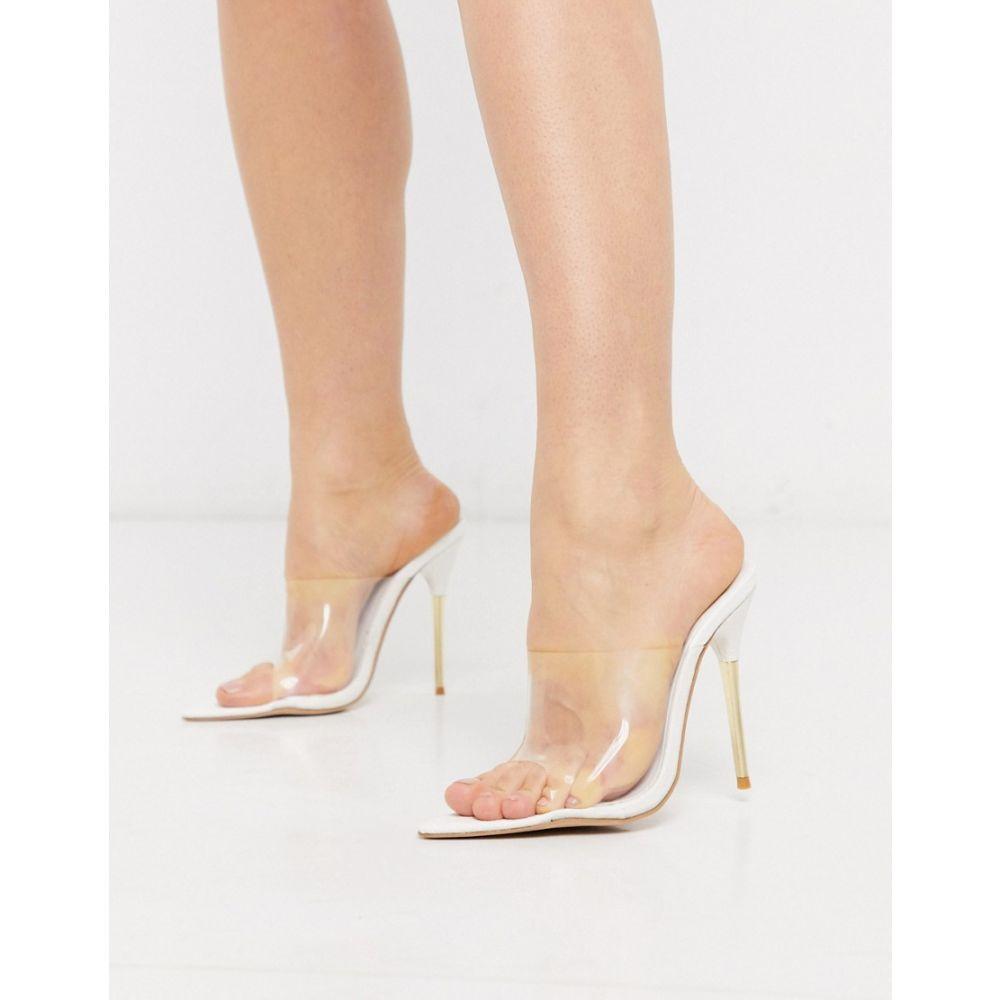 パブリックディザイア Public Desire レディース サンダル・ミュール シューズ・靴【Headliner cigarette heeled mule sandals in white croc】White croc pu