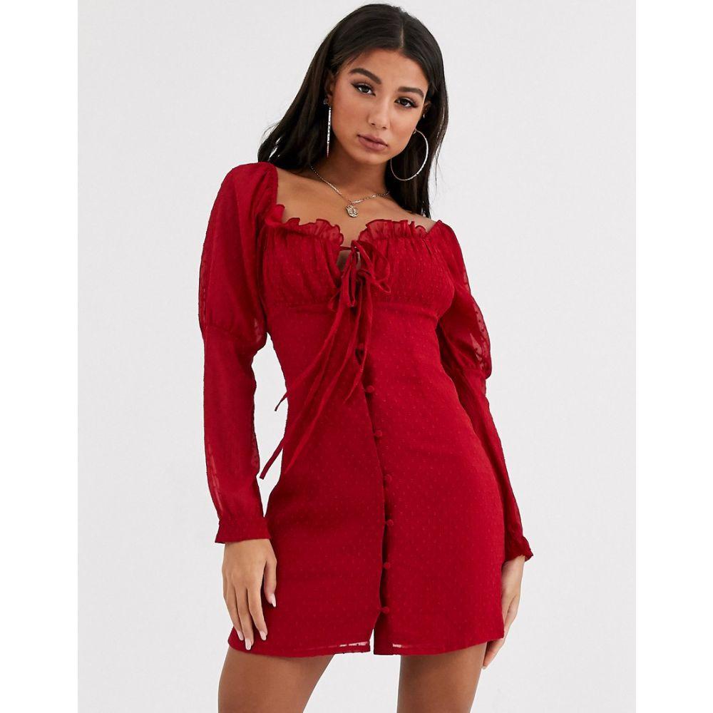 エイソス ASOS DESIGN レディース ワンピース ミニ丈 ワンピース・ドレス【button through dobby mini dress】Rio red