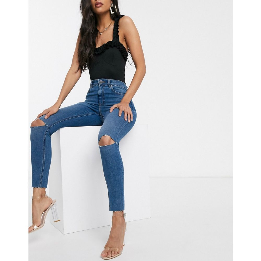 エイソス ASOS DESIGN レディース ジーンズ・デニム ボトムス・パンツ【Ridley high waisted skinny jeans in mid blue with rips】Mid blue
