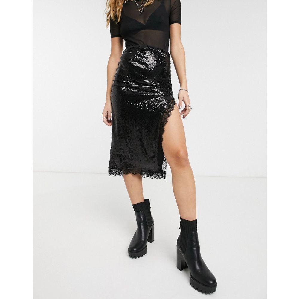 モーテル Motel レディース ひざ丈スカート スカート【sequin midi skirt with high split and lace detail】Black
