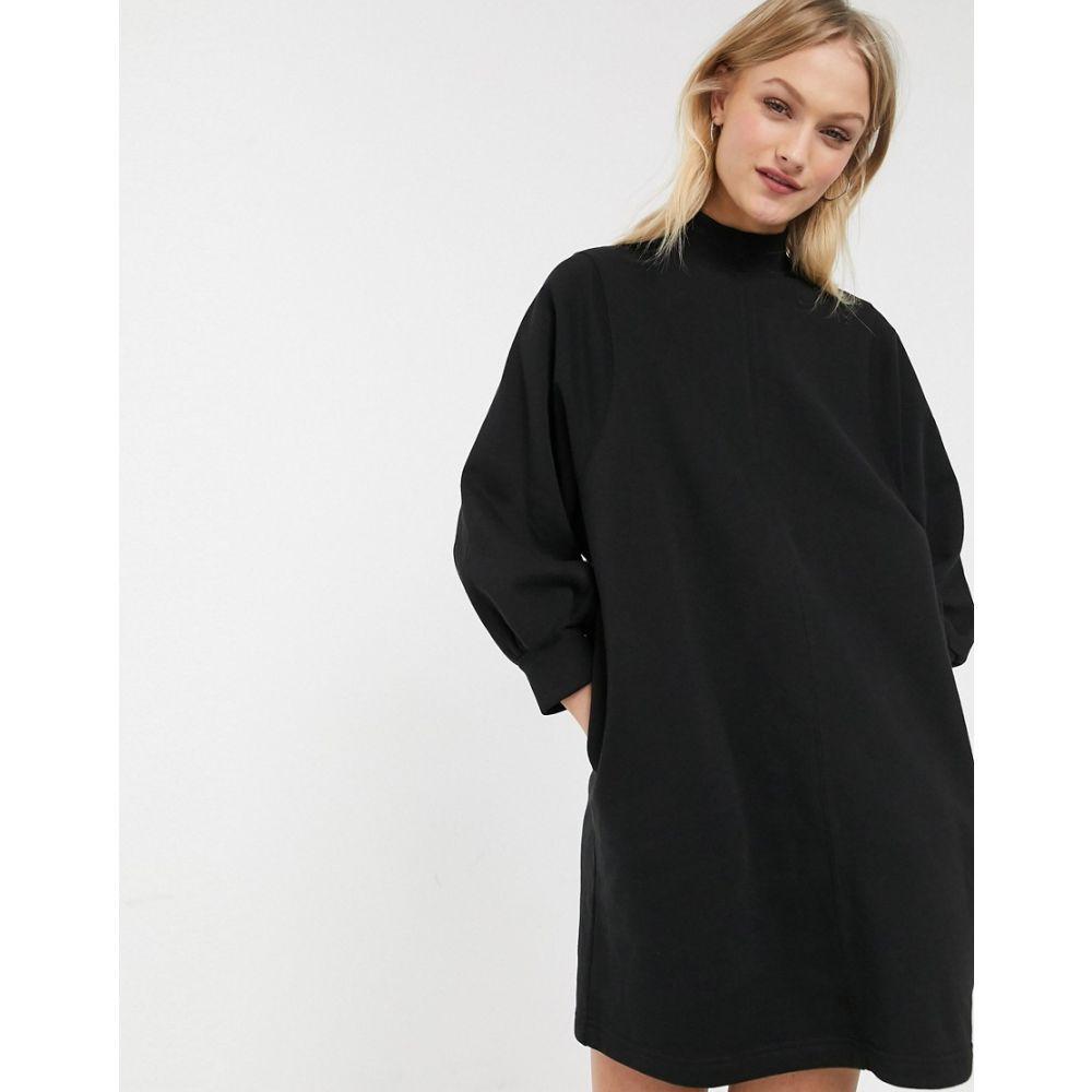 モンキー Monki レディース ワンピース ミニ丈 ワンピース・ドレス【mock neck balloon sleeves mini sweat dress in black】Black