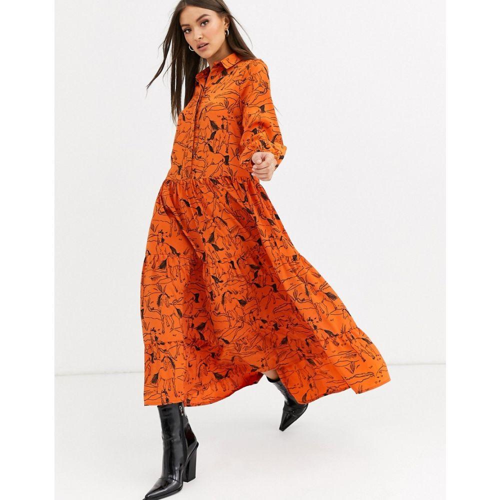 ネオンローズ Neon Rose レディース ワンピース ティアードドレス ワンピース・ドレス【maxi tiered tea dress in horse sketch print】Orange horse