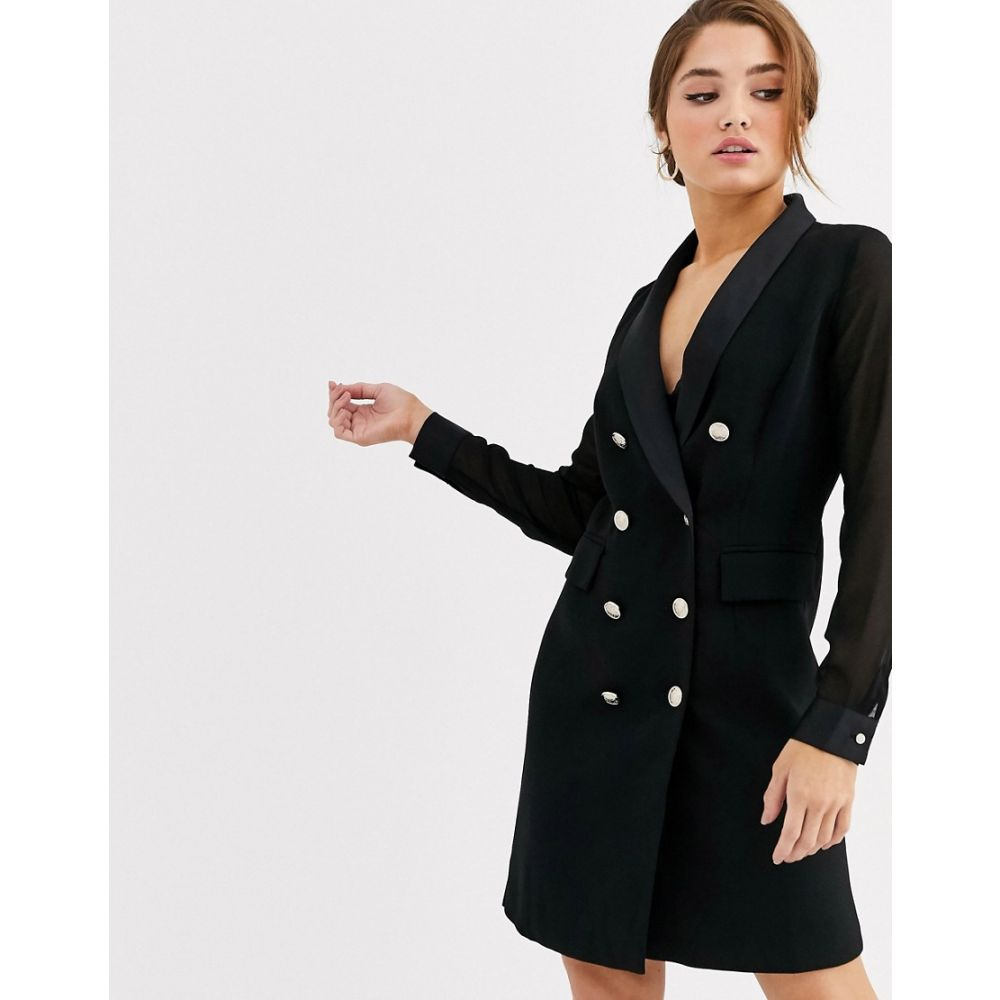 モーガン レーン Morgan レディース ワンピース タキシード ワンピース・ドレス【tuxedo dress with sheer sleeves in black】Black