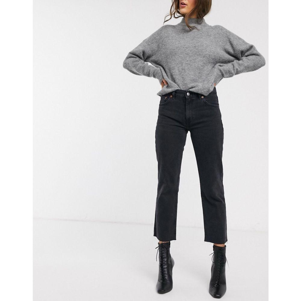 マンゴ Mango レディース ジーンズ・デニム ボトムス・パンツ【cropped straight leg jean in washed black】Grey