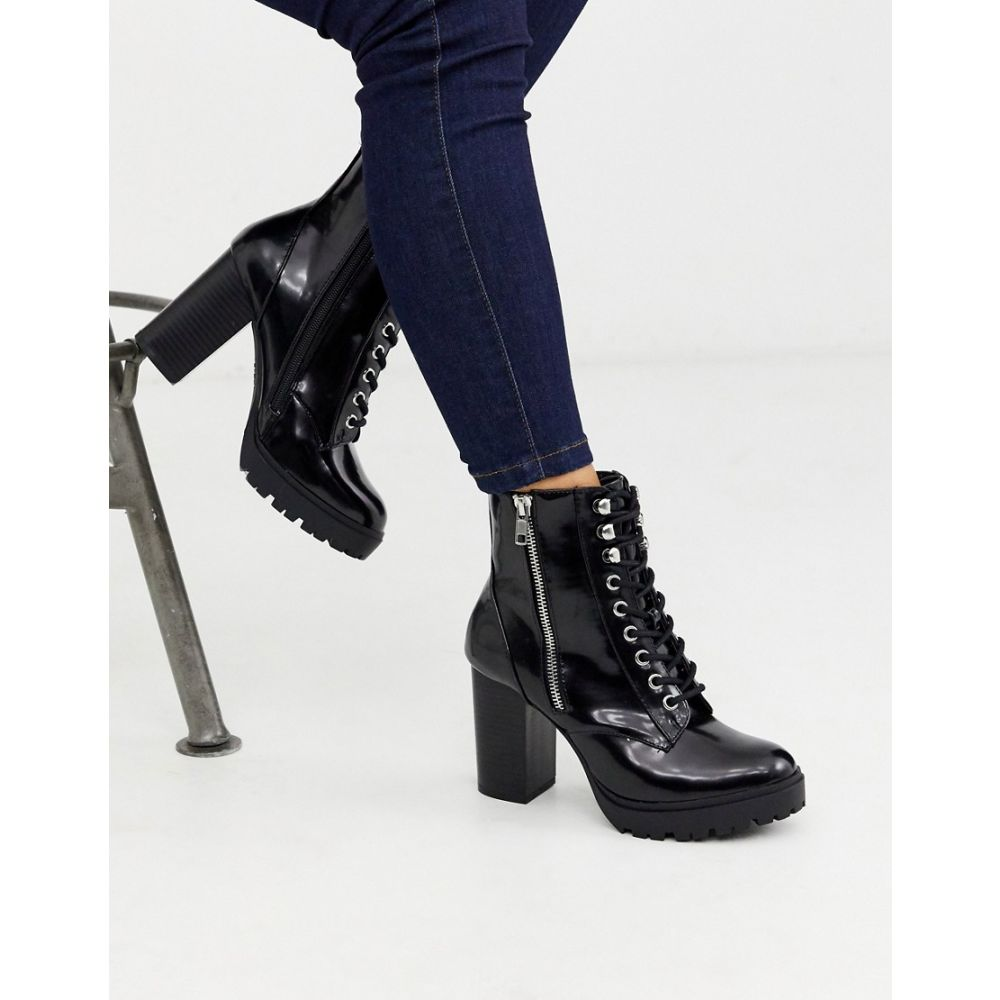 ニュールック New Look レディース ブーツ レースアップブーツ シューズ・靴【chunky heeled lace up boot in black】Black
