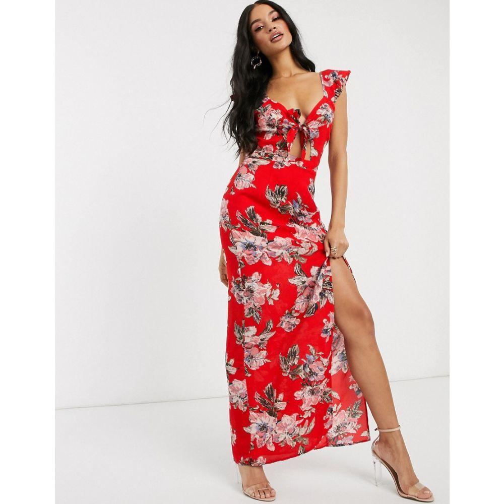 プリティ ダーリン Pretty Darling レディース ワンピース マキシ丈 ワンピース・ドレス【tie front floral maxi dress】Red floral