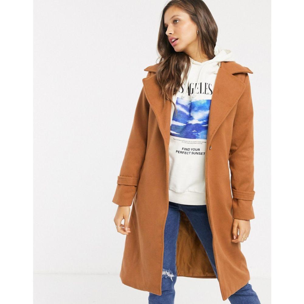 パリジャン Parisian レディース コート アウター【single button coat with wide lapels】Dark camel