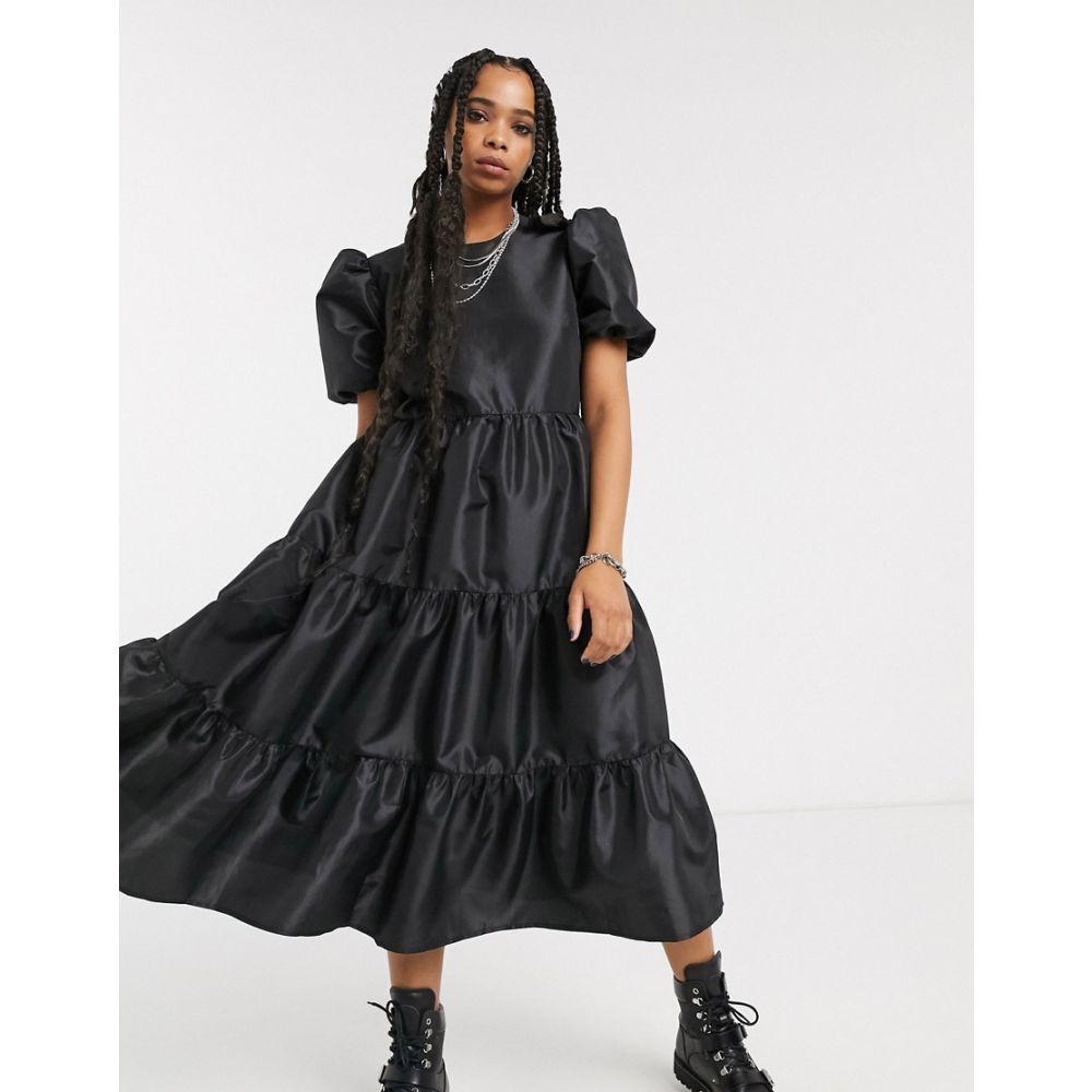 ミルクイット Milk It レディース ワンピース ワンピース・ドレス【vintage oversized smock dress with balloon sleeves and open back in taffeta】Black
