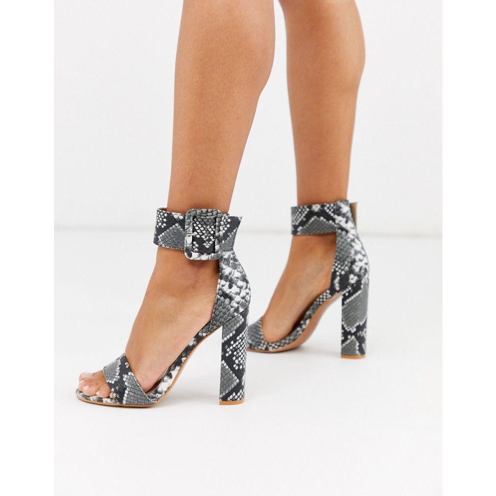 プリティリトルシング PrettyLittleThing レディース サンダル・ミュール シューズ・靴【block heeled sandals in grey snake】Multi