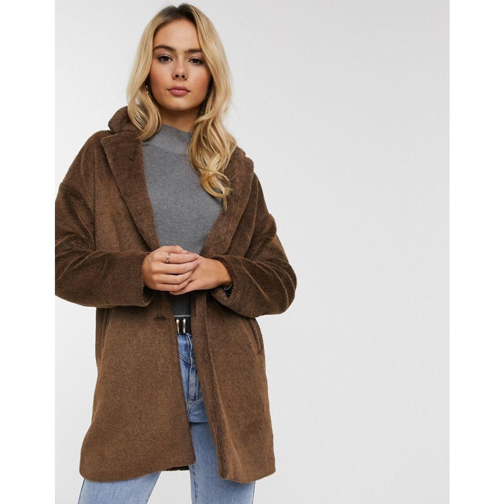 ピンキー Pimkie レディース コート ファーコート アウター【faux fur coat in brown】Brown