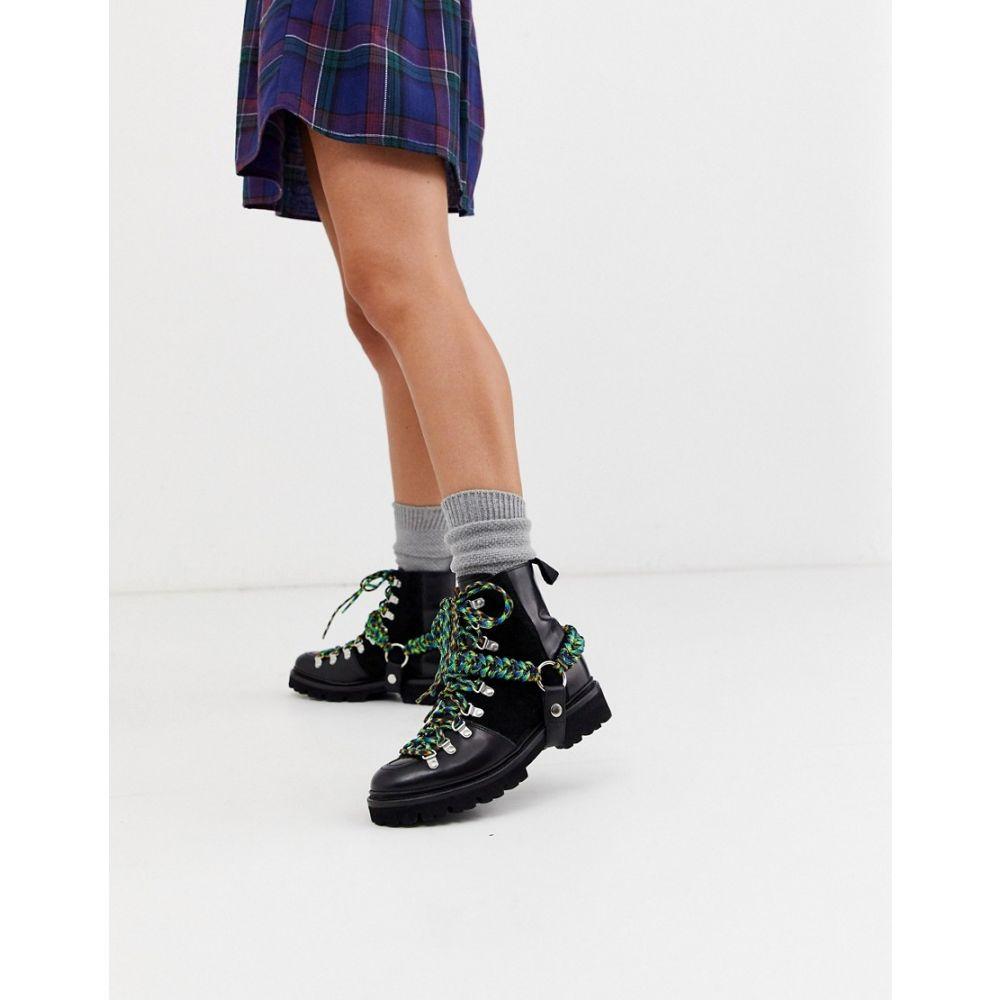 ハウス オブ ホーランド House of Holland レディース ブーツ シューズ・靴【House Of Holland X Grenson solid black and lime nanette leather biker boots】Black lime