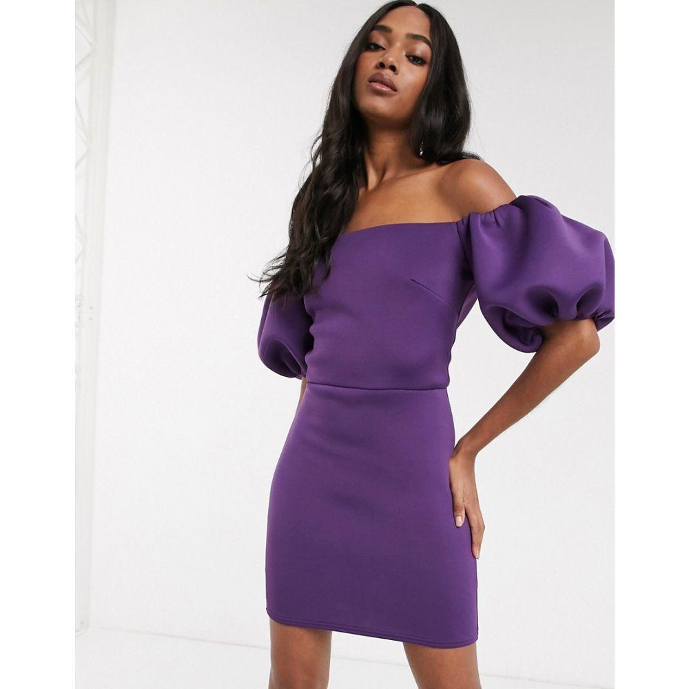 トゥルーヴァイオレット True Violet レディース ワンピース ミニ丈 ワンピース・ドレス【extreme 80s puff sleeve mini dress in aubergine】Aubergine