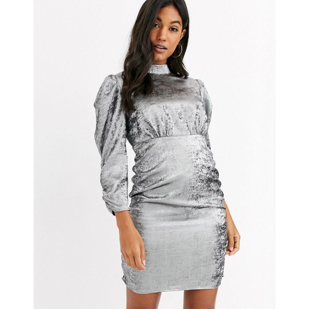 ヴィラ Vila レディース ワンピース ミニ丈 ワンピース・ドレス【mini dress with ruched sleeves in silver】Silver