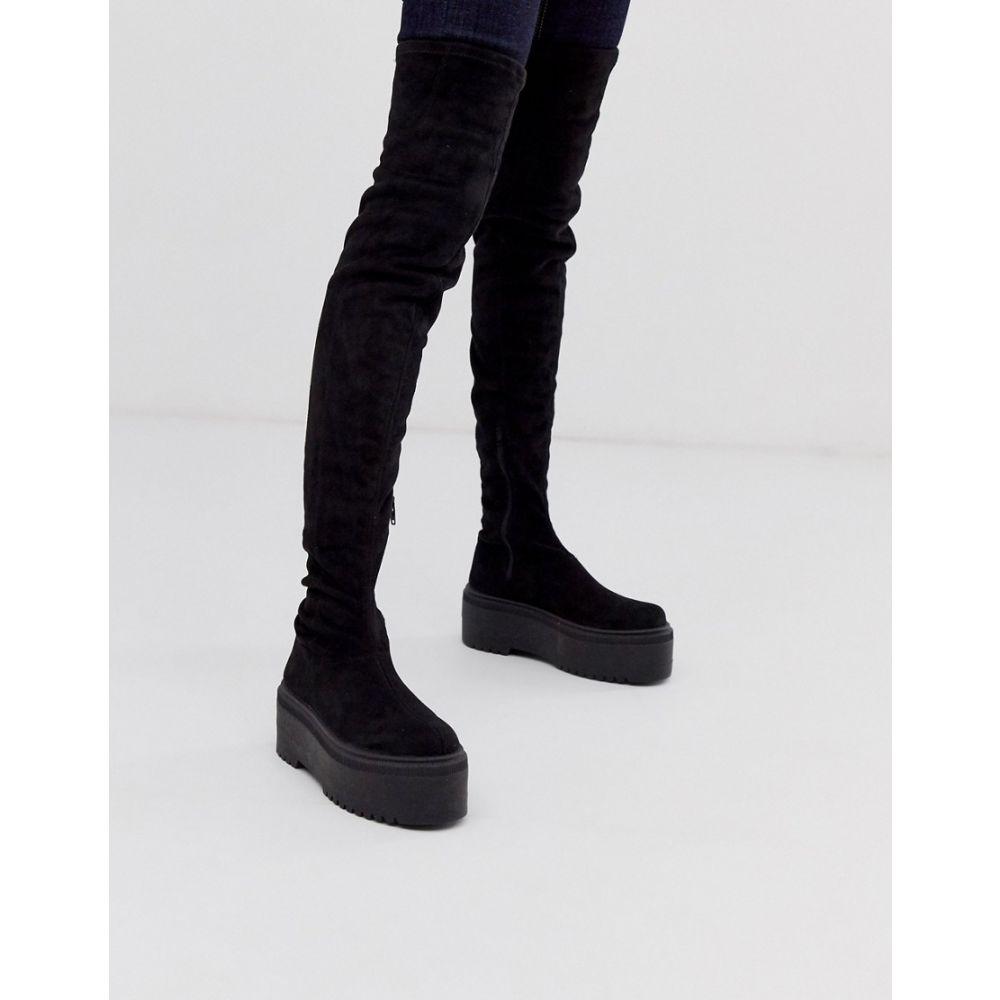 エイソス ASOS DESIGN レディース ブーツ ニーハイブーツ チャンキーヒール シューズ・靴【Katie chunky over the knee boots】Black