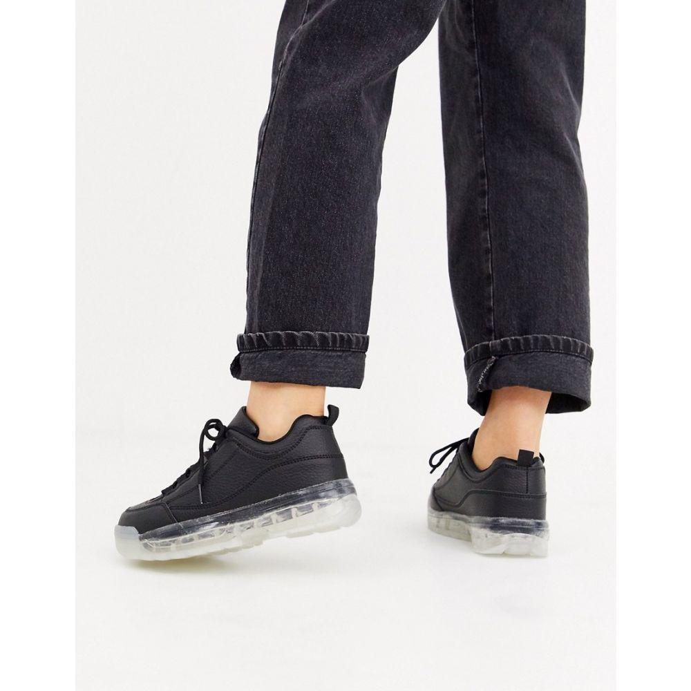 トリュフコレクション Truffle Collection レディース スニーカー チャンキーヒール シューズ・靴【clear sole chunky trainer in black】Black