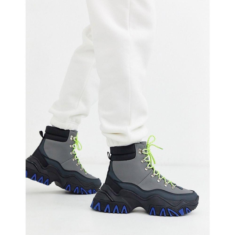エイソス ASOS DESIGN メンズ ブーツ レースアップブーツ シューズ・靴【lace up hiker boots in grey faux suede on chunky colour pop sole】Grey