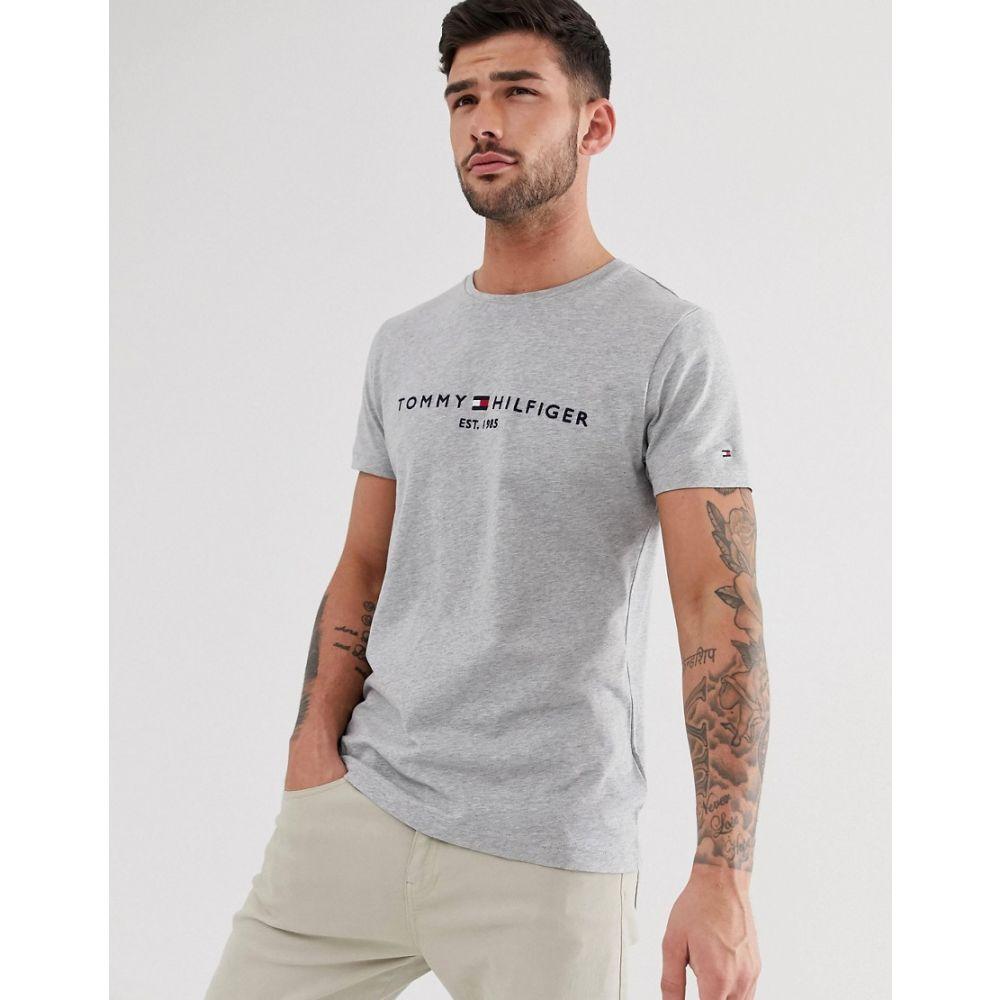 トミー ヒルフィガー Tommy Hilfiger メンズ Tシャツ トップス【embroidered flag logo t-shirt in grey marl】Cloud heather
