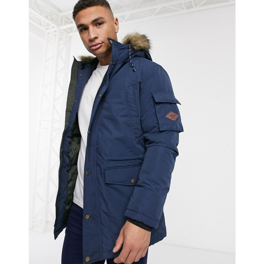 プロダクト Produkt メンズ コート アウター【parka jacket with faux fur hood】Dress blues