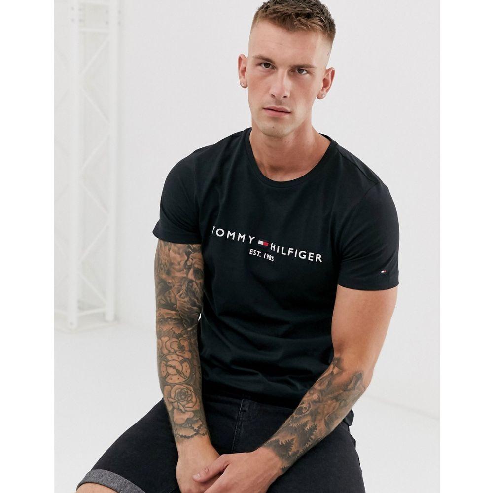 トミー ヒルフィガー Tommy Hilfiger メンズ Tシャツ トップス【embroidered flag logo t-shirt in black】Black