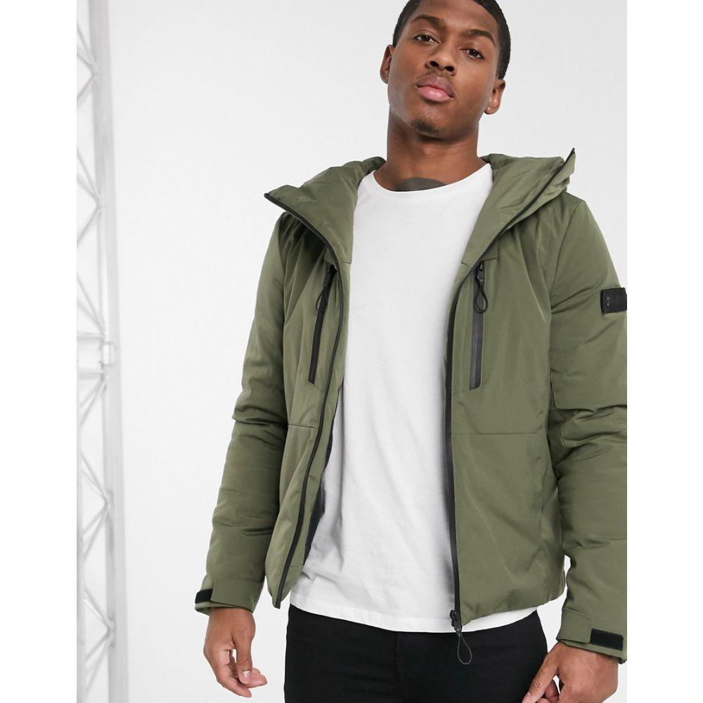 ソリッド Solid メンズ ダウン・中綿ジャケット アウター【quilted jacket with funnel neck in green】Khaki