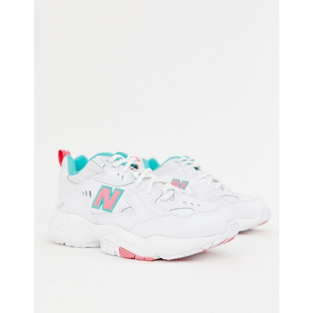 ニューバランス New Balance レディース スニーカー チャンキーヒール シューズ・靴【608 white with pink and green chunky trainers】Multi