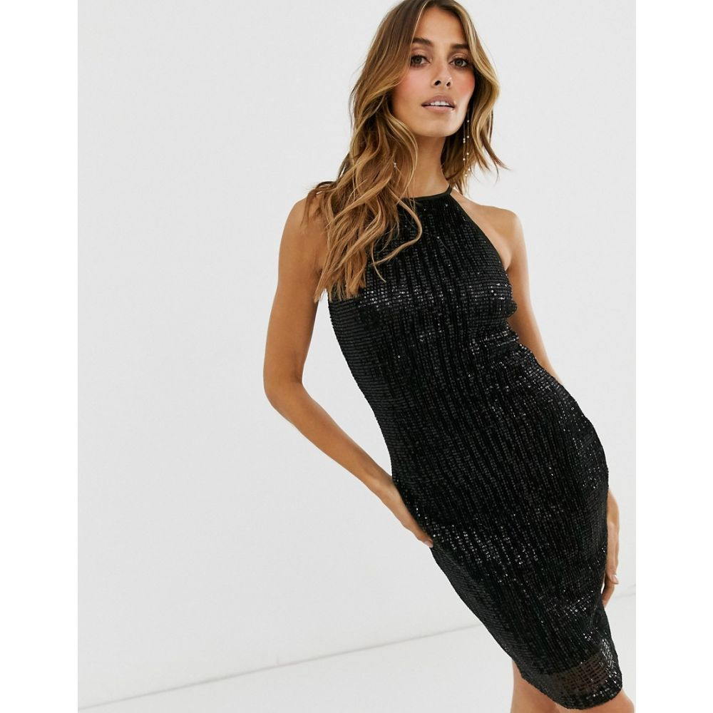 ペーパー ドールズ Paper Dolls レディース ワンピース ワンピース・ドレス【pleat sequin halter dress】Black