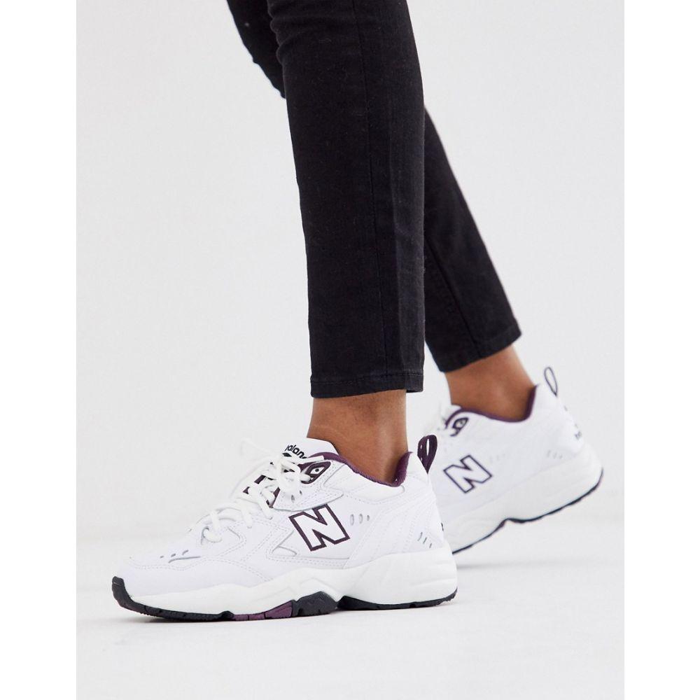 ニューバランス New Balance レディース スニーカー チャンキーヒール シューズ・靴【608 white and purple chunky trainers】White/purple
