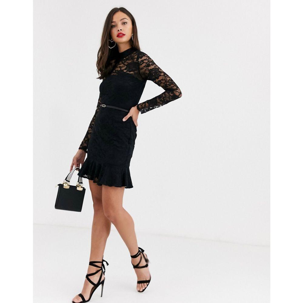 ペーパー ドールズ Paper Dolls レディース ワンピース ミニ丈 ワンピース・ドレス【flippy hem lace belted mini dress in black】Black