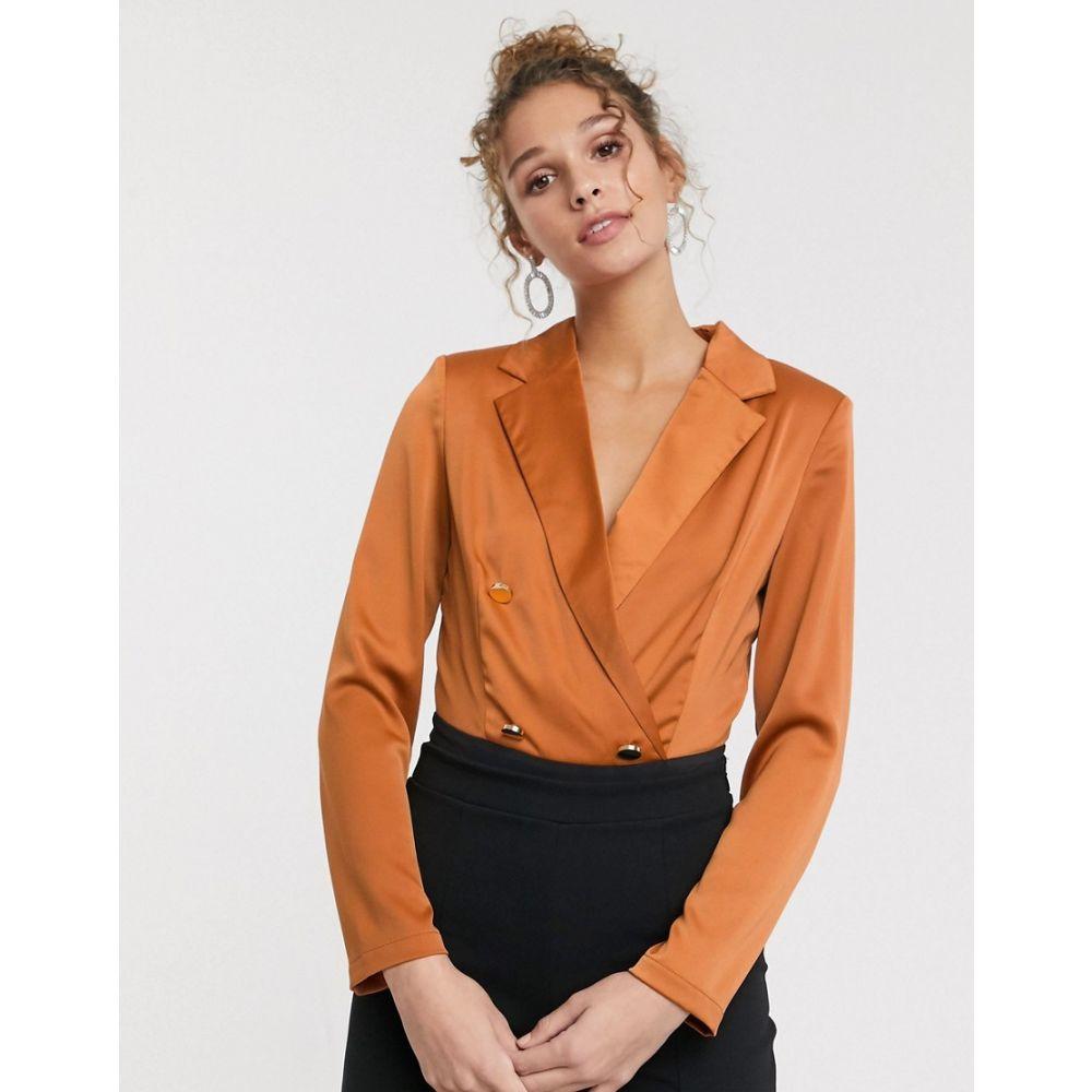 ペーパー ドールズ Paper Dolls レディース ボディースーツ インナー・下着【tailored blouse bodysuit with gold button detail in terracotta】Terracotta