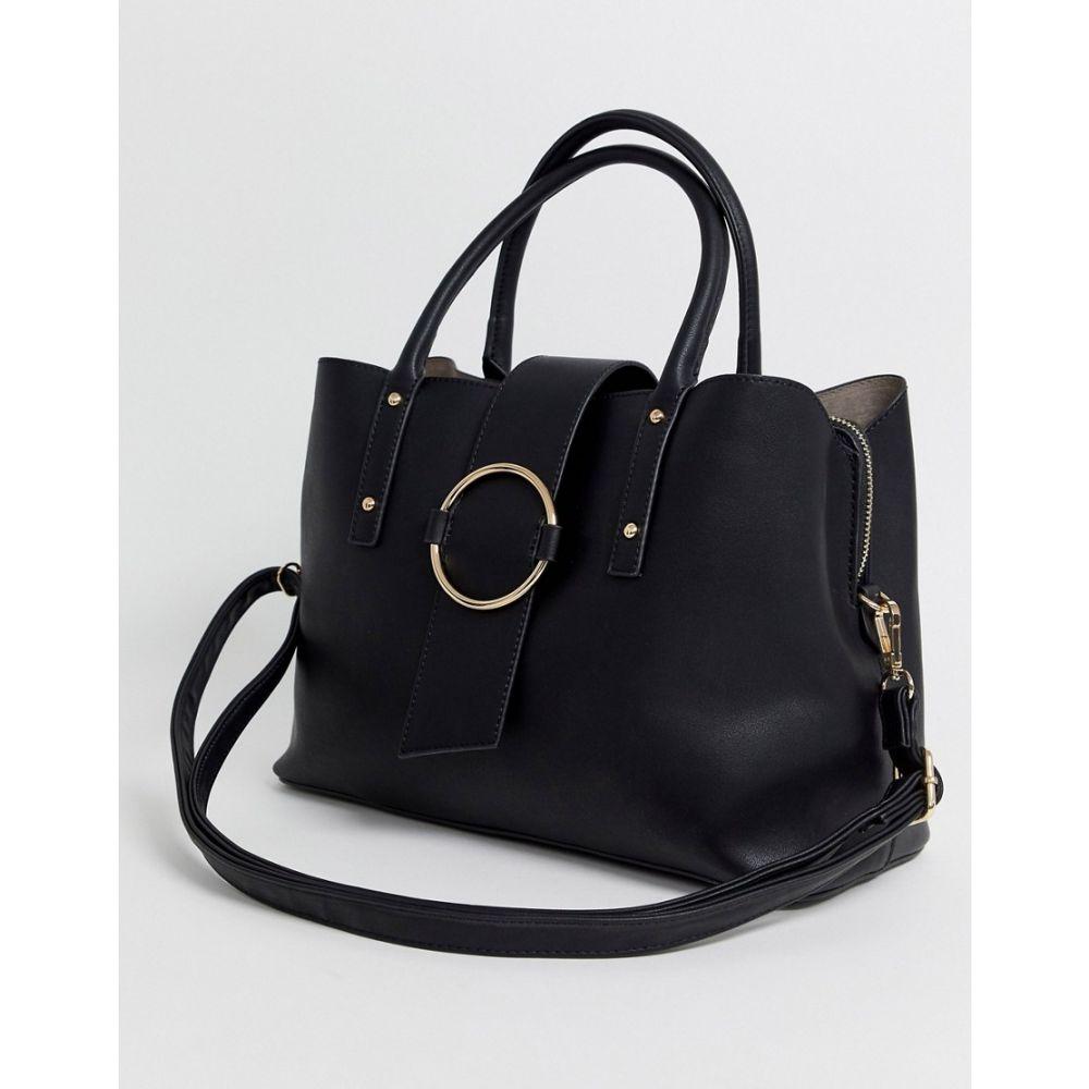 エイソス ASOS DESIGN レディース トートバッグ バッグ【tote bag with ring detail】Black