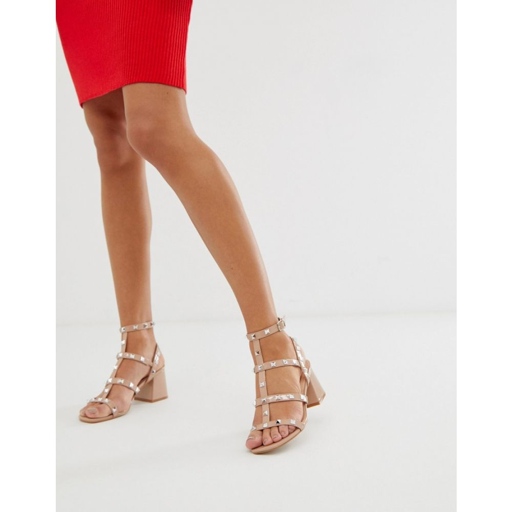 パブリックディザイア Public Desire レディース サンダル・ミュール シューズ・靴【Always blush studded mid heeled sandals】Blush patent