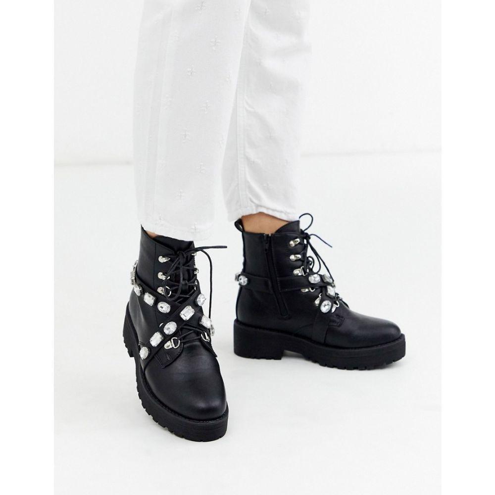 トリュフコレクション Truffle Collection レディース ブーツ チャンキーヒール シューズ・靴【embellished chunky hiker boot】Black pu