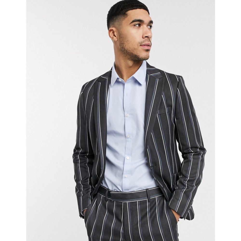 エイソス ASOS DESIGN メンズ スーツ・ジャケット アウター【skinny suit jacket in bold stripe in grey】Grey