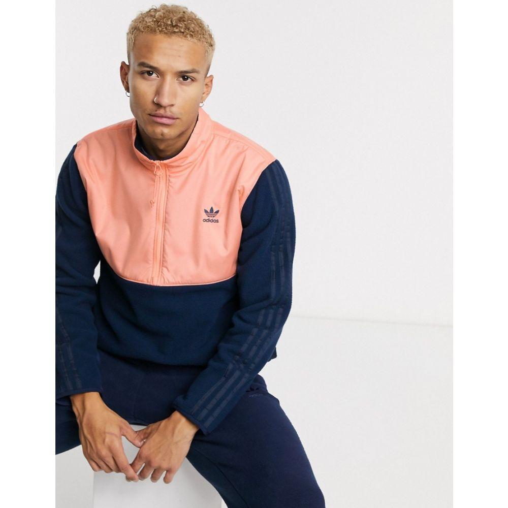 アディダス adidas Originals メンズ フリース トップス【overhead half zip fleece jacket with 3 stripes in navy tech pack】Navy