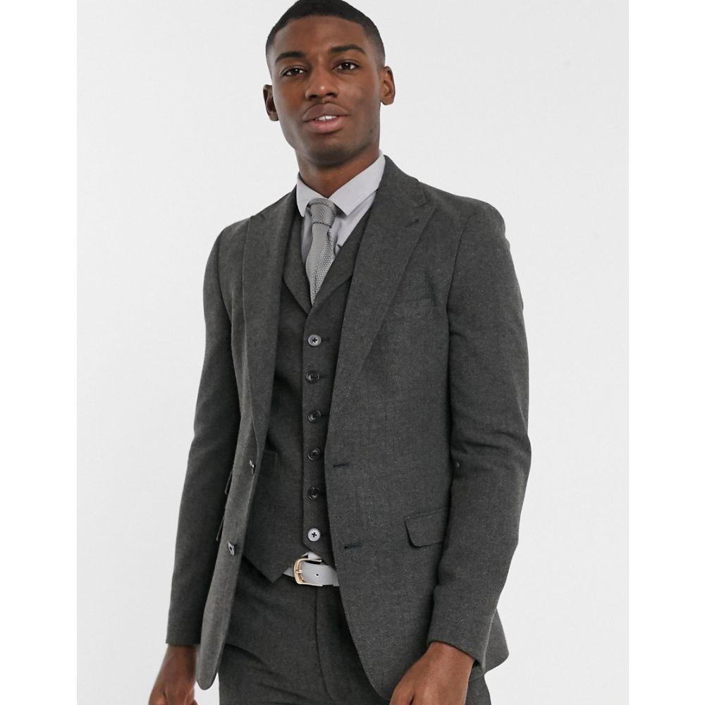 エイソス ASOS DESIGN メンズ スーツ・ジャケット アウター【wedding super skinny suit jacket in wool mix herringbone in charcoal】Charcoal