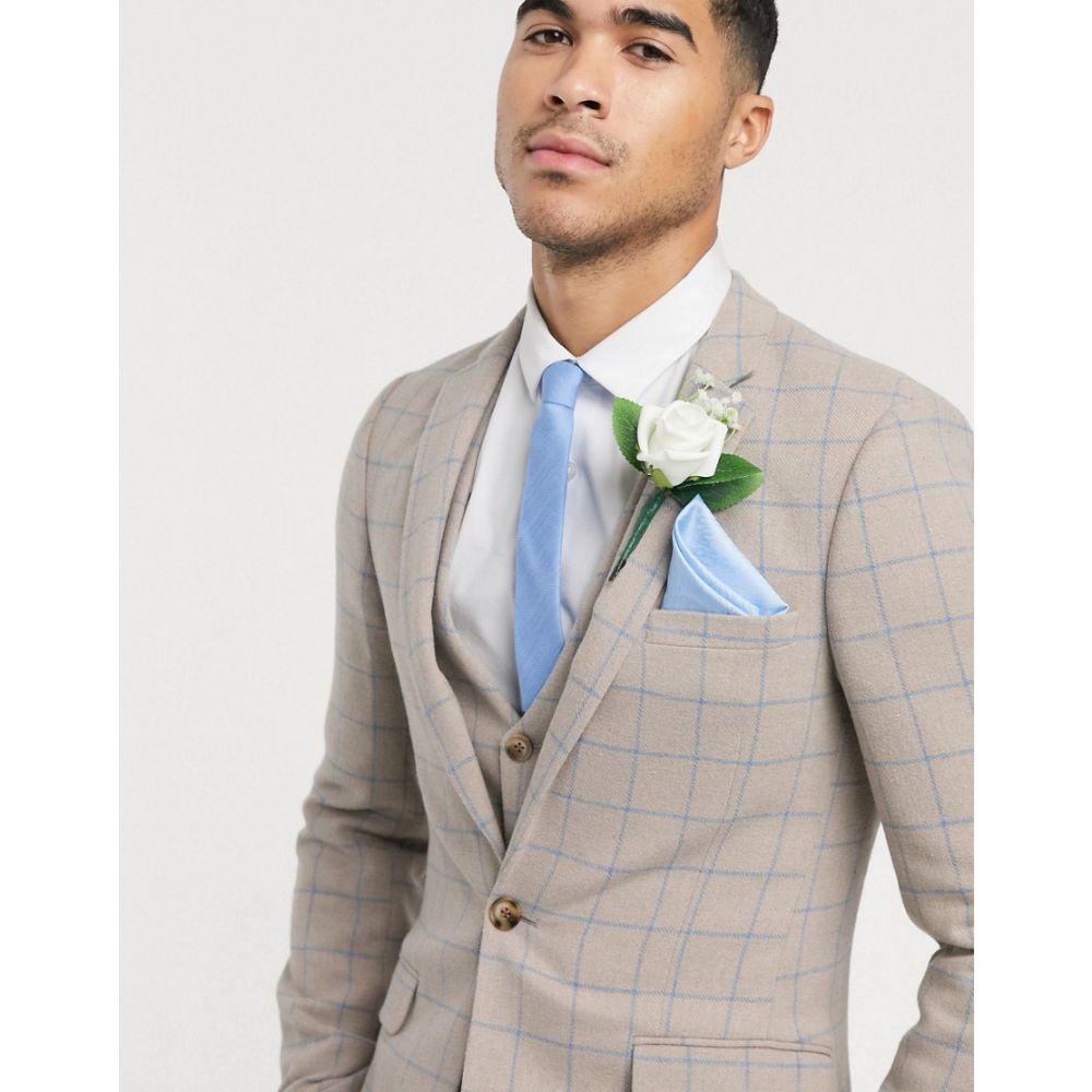 エイソス ASOS DESIGN メンズ スーツ・ジャケット アウター【wedding super skinny suit jacket in wool mix with beige grid check】Beige