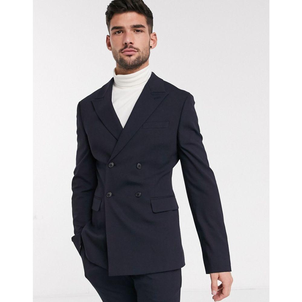 エイソス ASOS DESIGN メンズ スーツ・ジャケット アウター【skinny double breasted suit jacket in navy】Navy