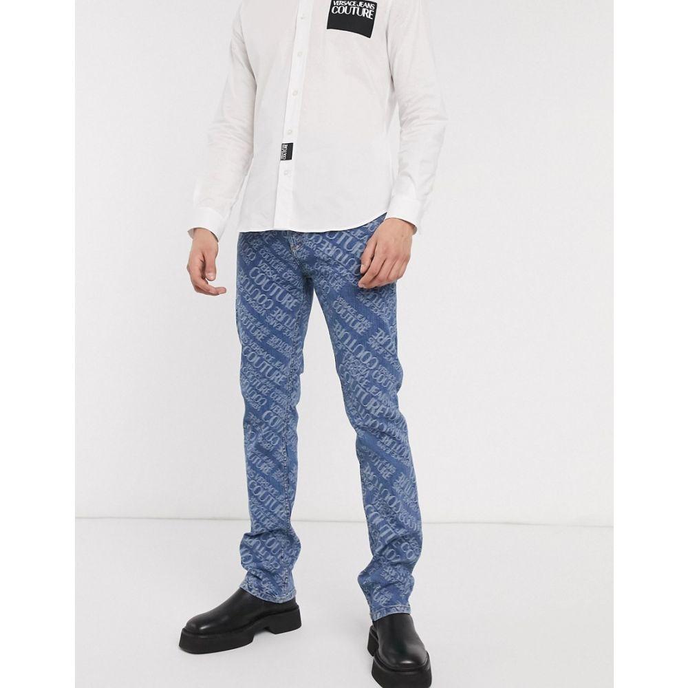 ヴェルサーチ Versace Jeans Couture メンズ ジーンズ・デニム ボトムス・パンツ【skinny jeans in all over logo】Blue