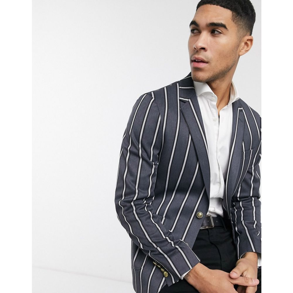 エイソス ASOS DESIGN メンズ スーツ・ジャケット アウター【skinny striped blazer with gold buttons in grey】Grey
