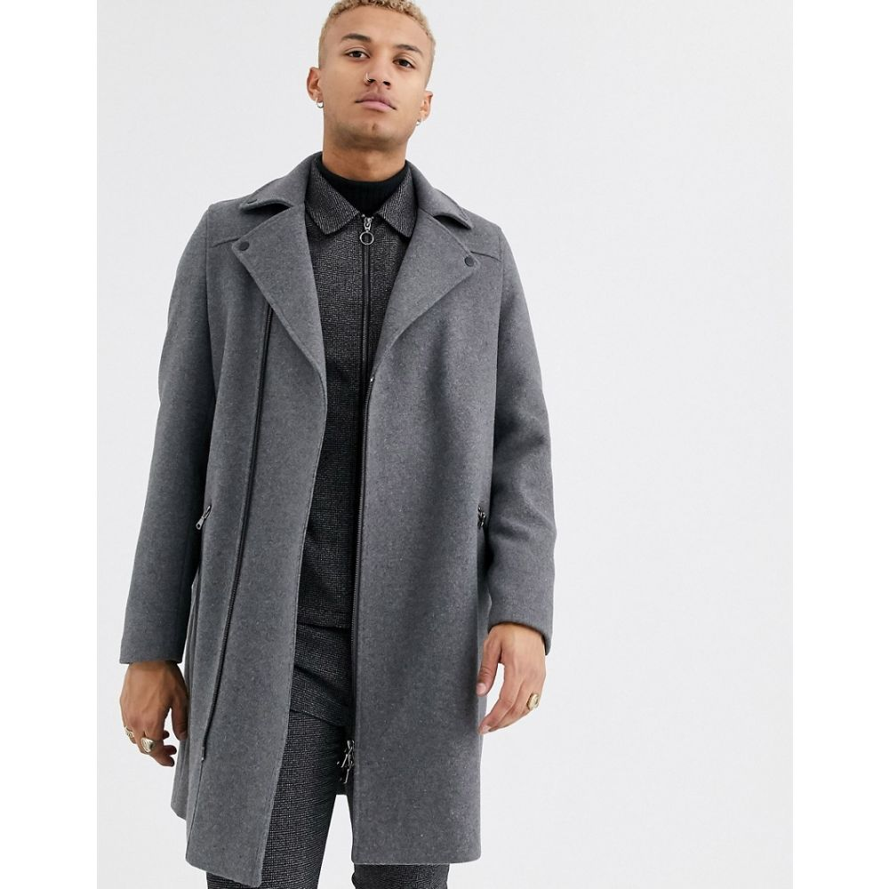 エイソス ASOS DESIGN メンズ コート アウター【wool mix overcoat in grey with biker detailing】Grey