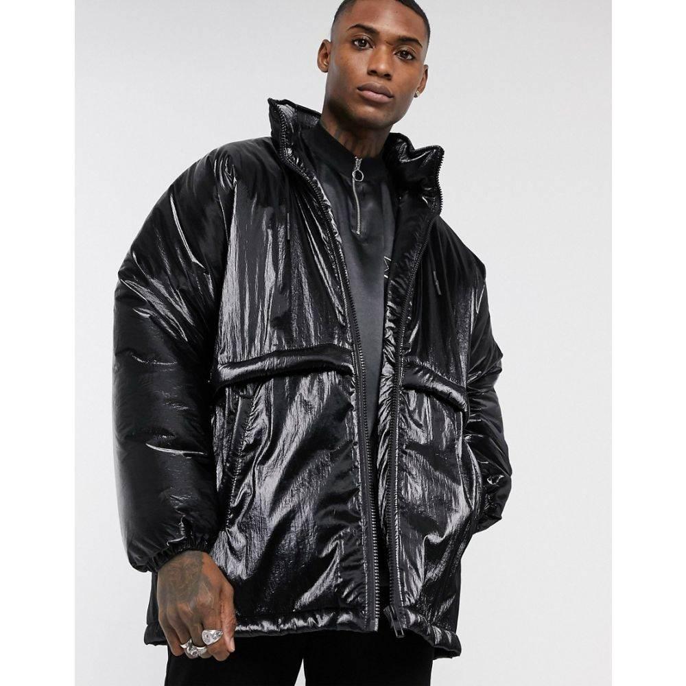 エイソス ASOS DESIGN メンズ ダウン・中綿ジャケット アウター【puffer jacket in black high shine】Black