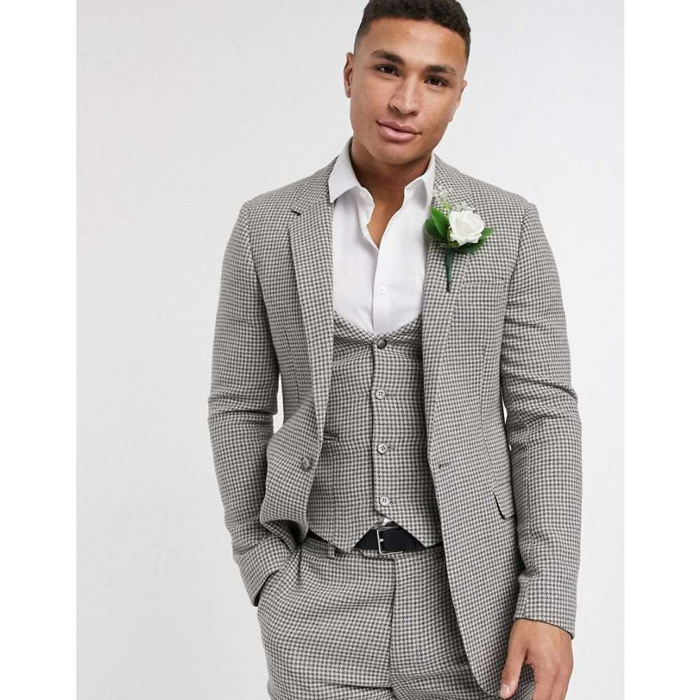 エイソス ASOS DESIGN メンズ スーツ・ジャケット アウター【wedding skinny suit jacket in grey wool blend micro houndstooth】Grey