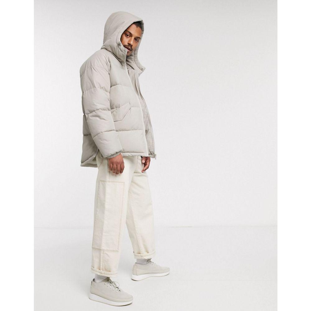 エイソス ASOS DESIGN メンズ ダウン・中綿ジャケット フード アウター【puffer hooded jacket with side zip detail in stone】Stone