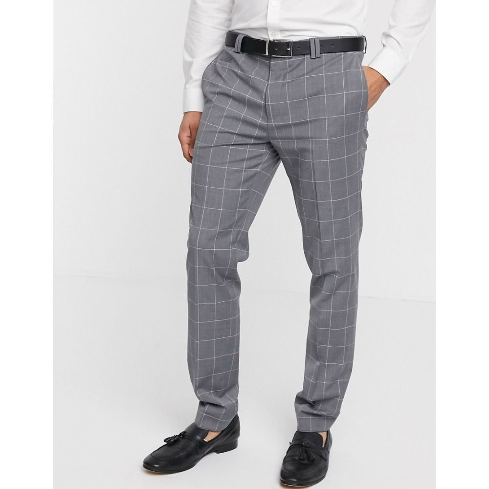 ヴィーゴ Viggo メンズ スラックス ボトムス・パンツ【recycled wool trousers in grey windowpane check】Black