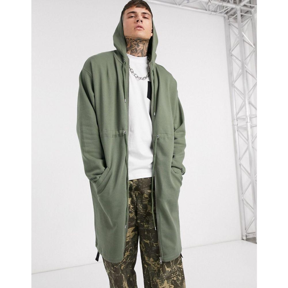 エイソス ASOS DESIGN メンズ コート アウター【jersey parka jacket with hood in khaki】Four leaf clover