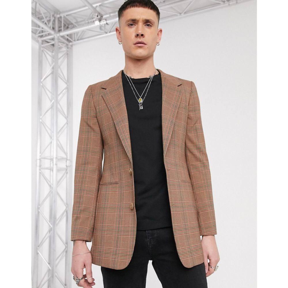 エイソス ASOS DESIGN メンズ スーツ・ジャケット ロング アウター【longline skinny blazer in brown check】Grey