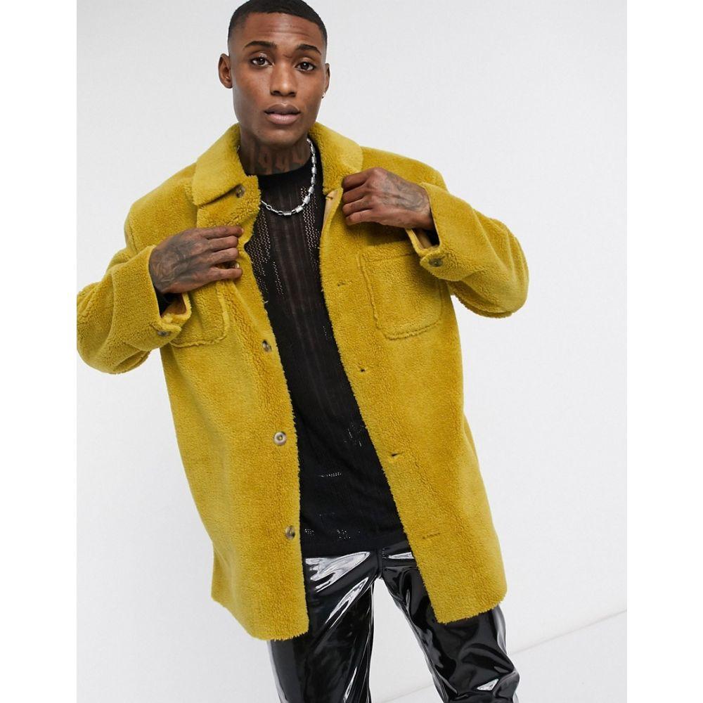 エイソス ASOS DESIGN メンズ ジャケット アウター【teddy jacket in mustard】Mustard