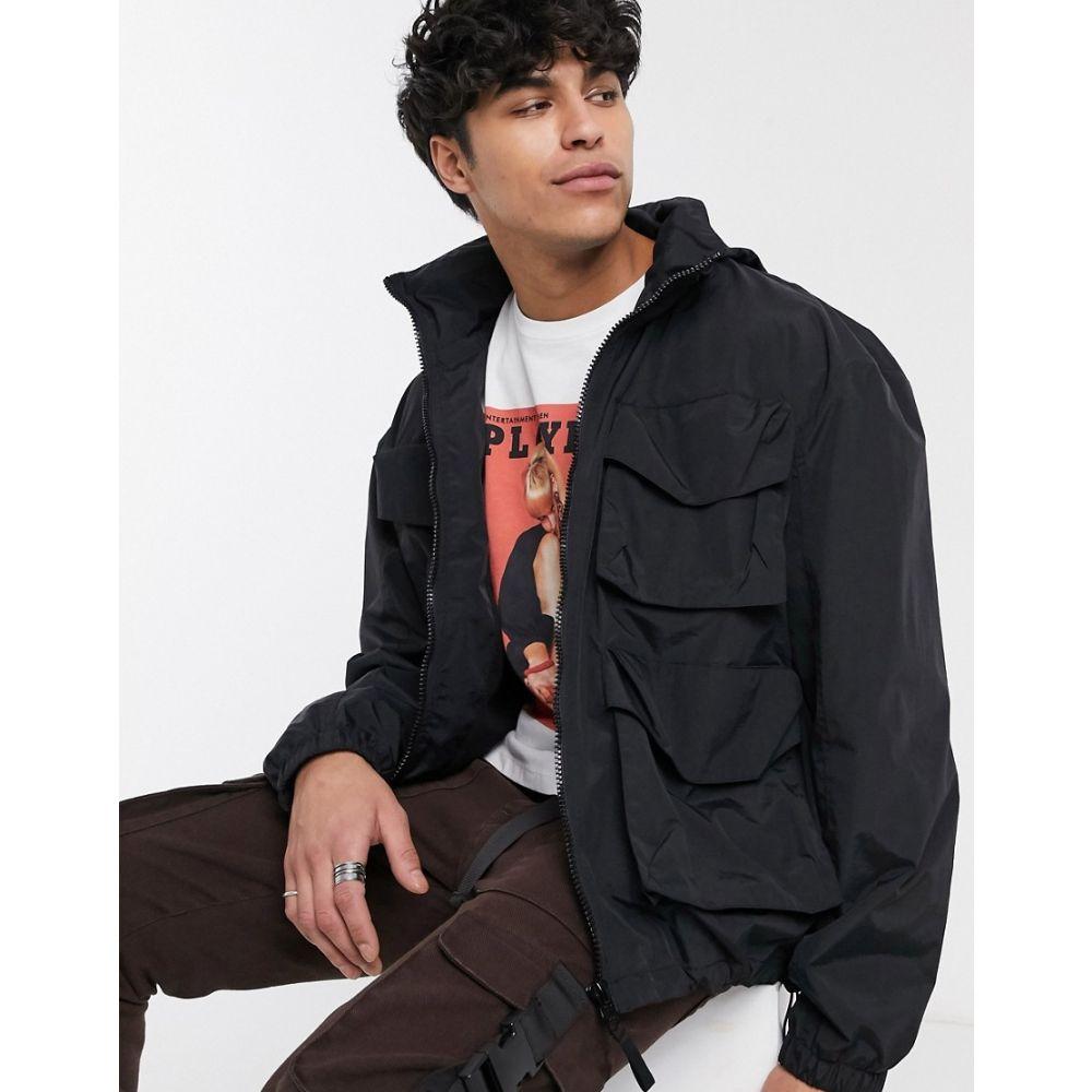 エイソス ASOS DESIGN メンズ ジャケット アウター【jacket with funnel neck in black】Black